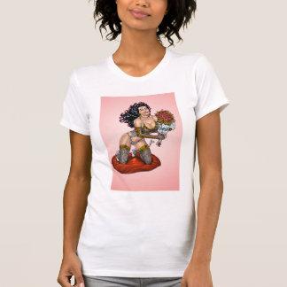 Brunette in Lingerie with Roses Illustration Tshirt