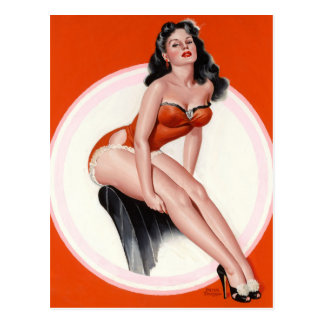 Brunette in Red Bathing Suit Pin Up Art Postcard