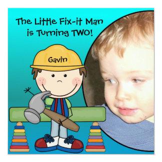 """Brunette Little Fix-It Man Birthday Invitation 5.25"""" Square Invitation Card"""