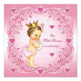 Brunette Little Princess Love Hearts Baby Shower 13 Cm X 13 Cm Square Invitation Card