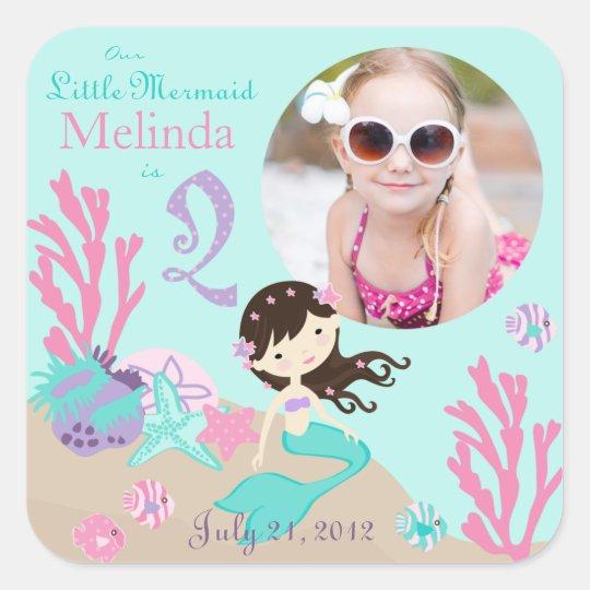 Brunette Mermaid Age Two Photo Sticker Label