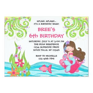 """Brunette Mermaid Birthday Invitations 5"""" X 7"""" Invitation Card"""
