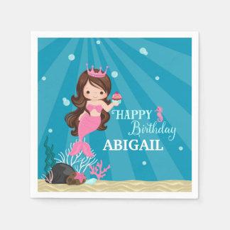Brunette Mermaid Birthday Paper Napkin
