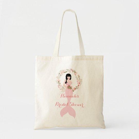 brunette mermaid bridal shower tote pink floral