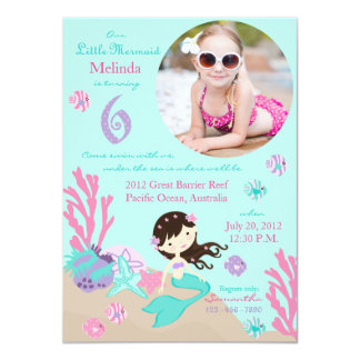 Brunette Mermaid Sixth Birthday Invitation