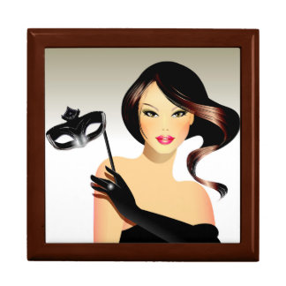Brunette Model and Mask Large Square Gift Box