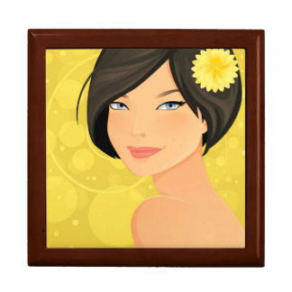 Brunette Model and Yellow Flower Large Square Gift Box