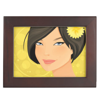 Brunette Model and Yellow Flower Memory Boxes