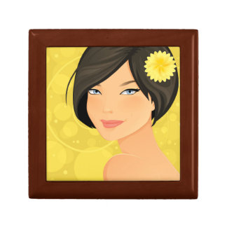 Brunette Model and Yellow Flower Small Square Gift Box