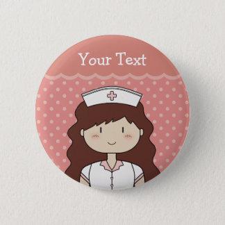 Brunette Nurse 6 Cm Round Badge