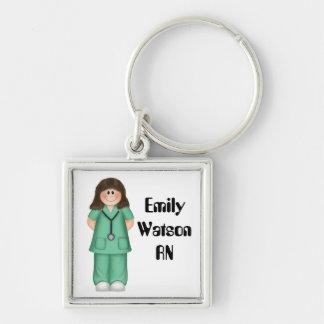 Brunette Personalized Nurse Keychain