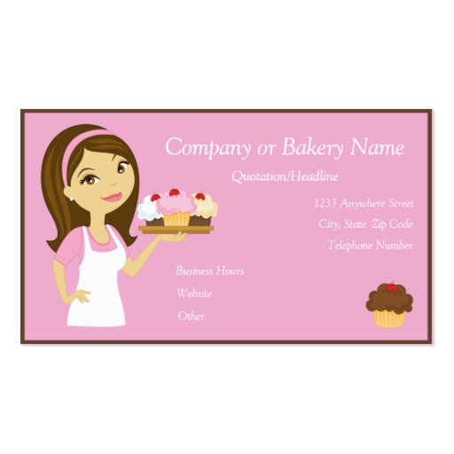 Brunette/Pink Cupcake Baker/Bakery 3 Business Card