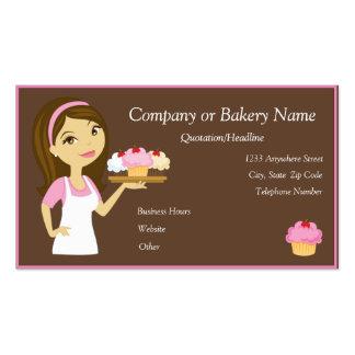 Brunette Pink Cupcake Baker Bakery Business Card