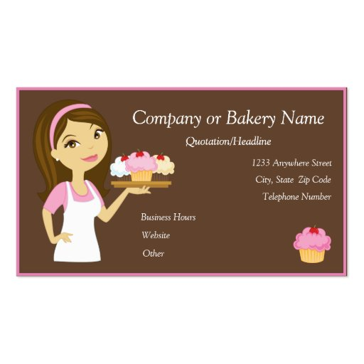 Brunette/Pink Cupcake Baker/Bakery Business Card