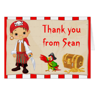 Brunette Pirate Boy Birthday Thank You Note Card