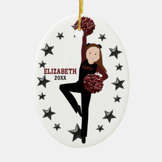 Brunette Pom Squad in Black & Maroon Christmas Ornament