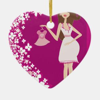 brunette pregnant woman ceramic heart decoration
