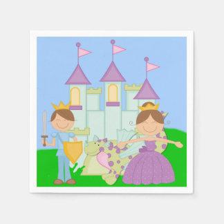 Brunette Prince and Princess Paper Napkins Disposable Napkin