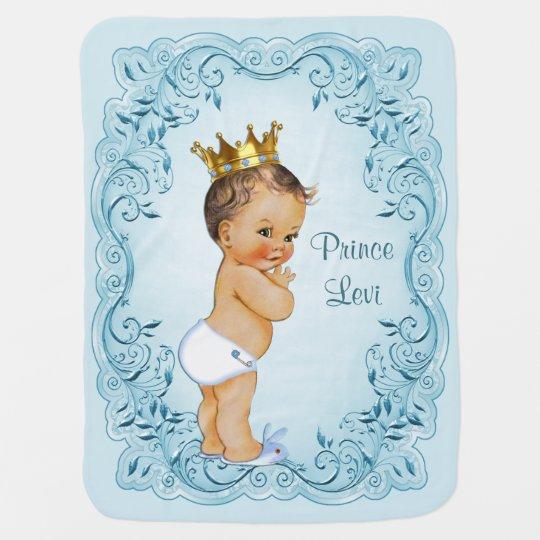Brunette Prince Blue Leaves Personalised Baby Blanket