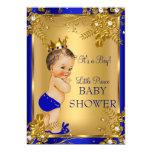 Brunette Prince Boy Baby Shower Gold Blue Floral 13 Cm X 18 Cm Invitation Card