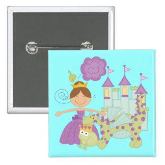 Brunette Princess 15 Cm Square Badge