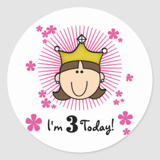 Brunette Princess 3rd Birthday Tshirts and Gifts Stickers