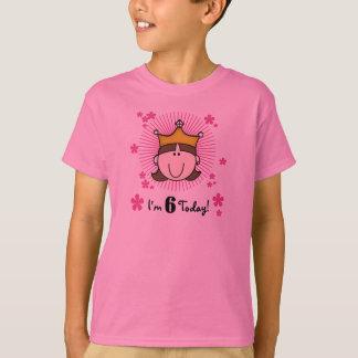 Brunette Princess 6th Birthday T-Shirt