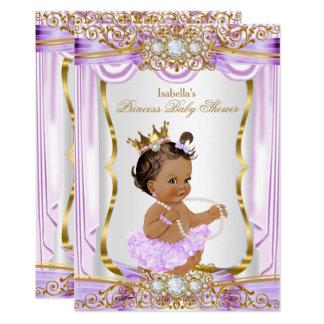 Brunette Princess Baby Shower Purple Silk Gold 13 Cm X 18 Cm Invitation Card