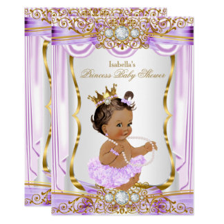 Brunette Princess Baby Shower Purple Silk Gold Card