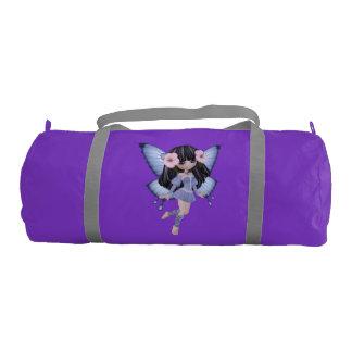 Brunette Princess Fairy Purple Duffle Gym Bag Gym Duffel Bag