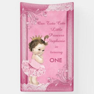 Brunette Princess Tutu Cute 1st Birthday Faux Lace Banner