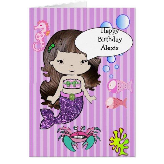 Brunette Purple Mermaid Happy Birthday Card