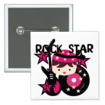 Brunette Rock Star Girl Pinback Button