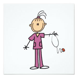 Brunette Stick Figure Nurse 13 Cm X 13 Cm Square Invitation Card