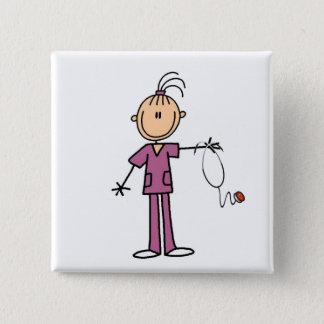 Brunette Stick Figure Nurse 15 Cm Square Badge