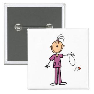 Brunette Stick Figure Nurse Buttons