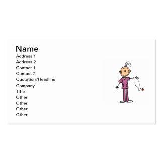 Brunette Stick Figure Nurse Business Cards