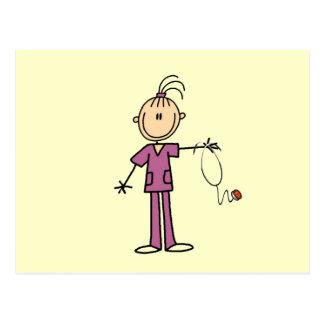 Brunette Stick Figure Nurse Post Cards