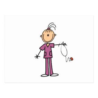 Brunette Stick Figure Nurse Post Card