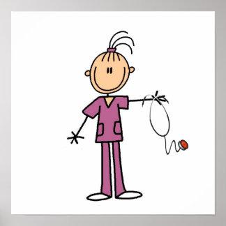 Brunette Stick Figure Nurse Print