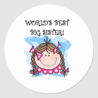 Brunette World's Best Big Sister Classic Round Sticker