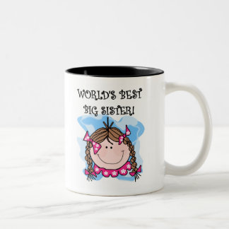 Brunette World's Best Big Sister Two-Tone Mug