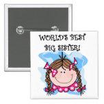 Brunette World's Best Big Sister Tshirts 15 Cm Square Badge