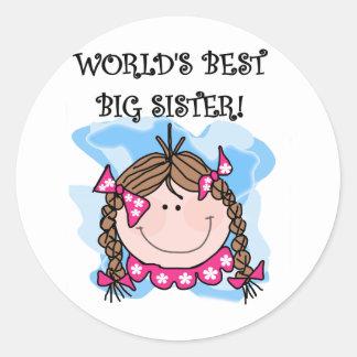 Brunette World's Best Big Sister Tshirts Classic Round Sticker