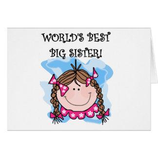 Brunette World's Best Big Sister Tshirts Greeting Card