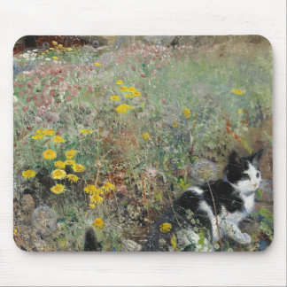 Bruno Liljefors - Cat on Flowerbed Mouse Pad