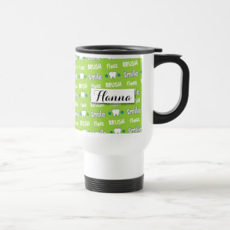 Brush and Floss Dentist Pattern Personalized Travel Mug