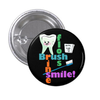 Brush Floss Rinse SMILE 3 Cm Round Badge