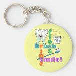 Brush Floss Rinse SMILE Basic Round Button Key Ring