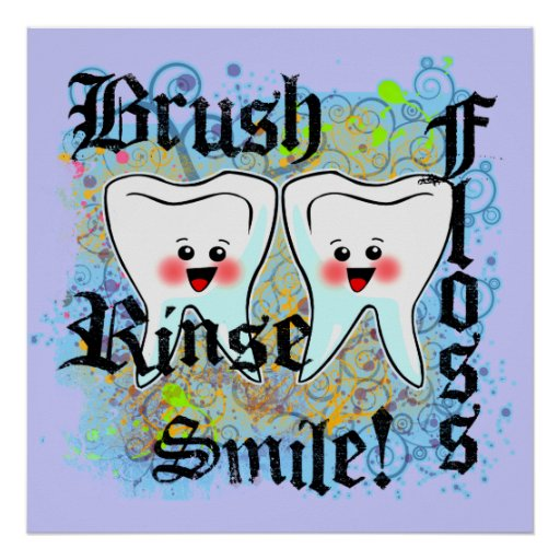 Brush Floss Rinse Smile Print